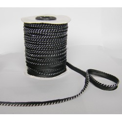 Flanged fabric piping cord - two-color - black&white