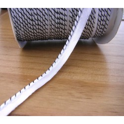 Flanged fabric piping cord - two-color -white&black