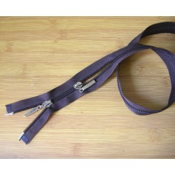 double slider plasic  zip - brown - length from 45cm to 80cm