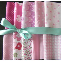 Pink Harmony - Fabric remnants bundle 40 size 4'/4'