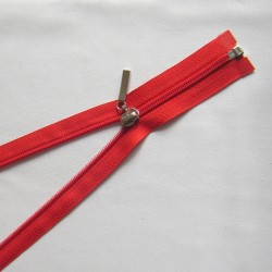 plastic coil zip -  red decorative puller - length from 30cm to 70cm