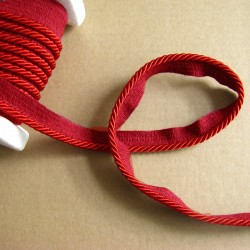 Flanged rope  piping cord - dark red