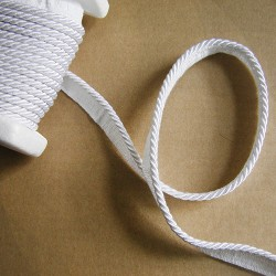 Flanged rope  piping cord - white 5mm