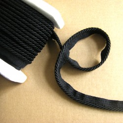 Flanged rope  piping cord 5mm - black