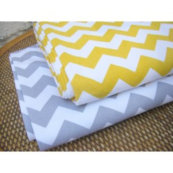 Heavy weight fabric - Yellow&White ZicZack - 100% Cotton