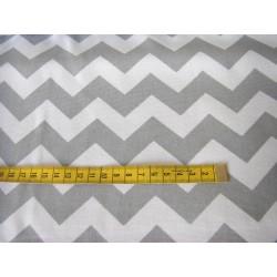Heavyweight panama - Grey&White ZigZag- 100% Cotton