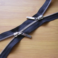 double slider metal zip - black - silver - 80cm