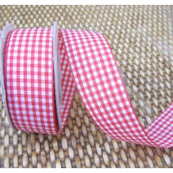 Gingham ribbon - 25mm - red - large check