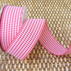 Gingham ribbon - 25mm - red - smallcheck