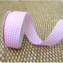 Gingham ribbon - 25mm - pink - large check