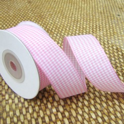 Gingham ribbon - 25mm - pink - small check