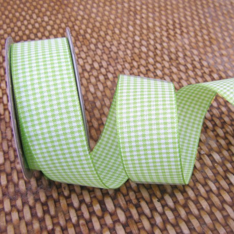 Gingham ribbon - 25mm - chartreuse green - small check