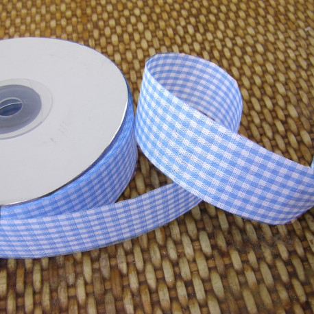 Gingham ribbon - 25mm - blue- small check