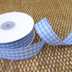 Gingham ribbon - 25mm - blue - large check