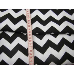 Heavy weight fabric - Black&White ZigZag - 100% Cotton