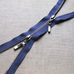 double slider metal zip - navy - antique brass - 80cm