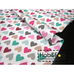 Colorful Hearts  - 100% Cotton canvas