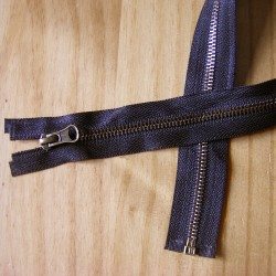 metal zip - black -50cm - Antique Brass