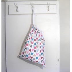 Drawstring Laundry bag - colorful hearts