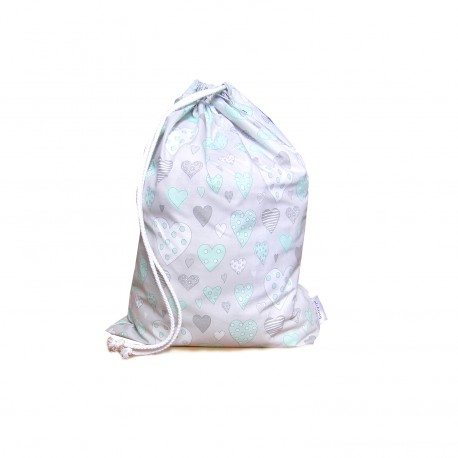Drawstring Laundry bag - mint green hearts