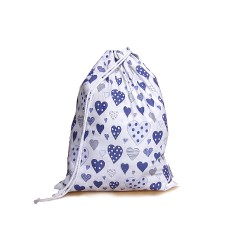 Drawstring Laundry bag - navy hearts