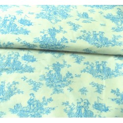 Toile de Jouy in blue -  cotton fabric