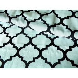 Heavy weight fabric - Maroccan Quatrefoil  - White&Black - Cotton