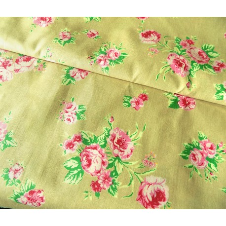 Rose bunches on mustard background - 100% cotton