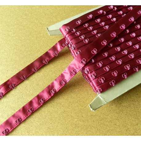 Satin Hook and Eye Tape - ruby