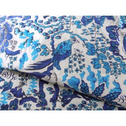 Cotton Hand Block Print fabric in blue