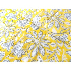 Cotton Hand Block Print fabric Floral  in yellow