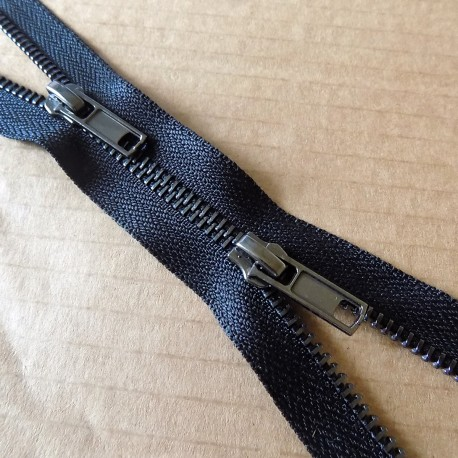 double slider metal zip - black - gun metal - 70cm
