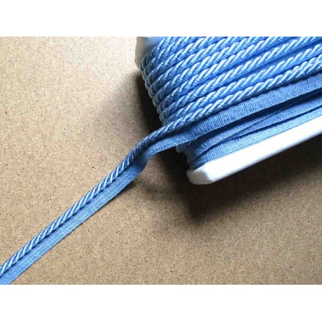 Twisted flanged rope  piping cord 7mm - blue