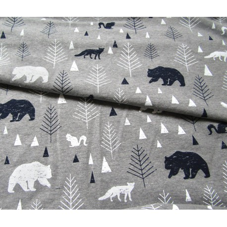 Sweatshirt jersey fabric -  FOREST on Blend Grey
