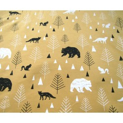 Sweatshirt jersey fabric -  FOREST on dark orange
