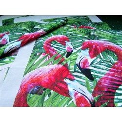 Ready Fabric Panel - Flamingos On Tropical Leaves