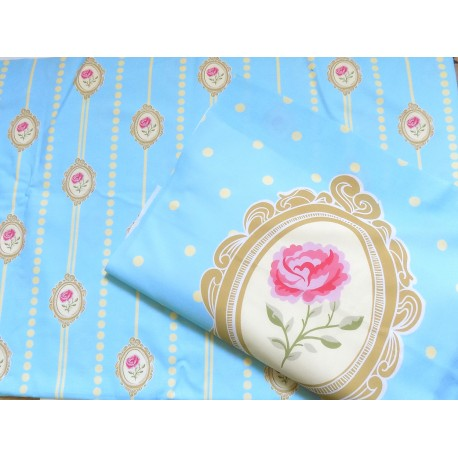 Schabby Chic Rose Ready Panel - on blue
