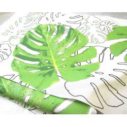 Ready Fabric Panel -  Monstera Leaves on white