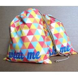 Travel Laundry Bag Set - Retro Triangles