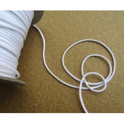 Braided Cotton Cord 4mm - white