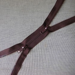 double slider chunky zip -  brown -90cm