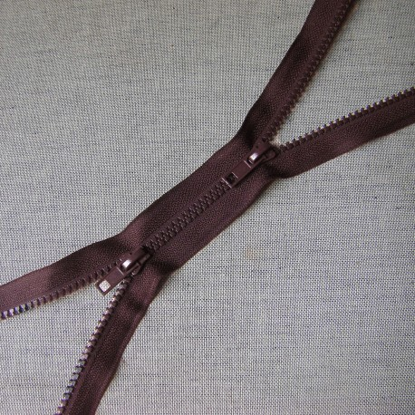 double slider chunky zip -  brown -100cm