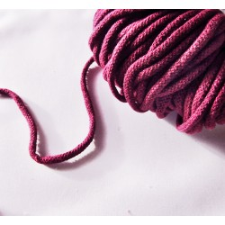 Braided Cotton Cord 5mm - fuchsia