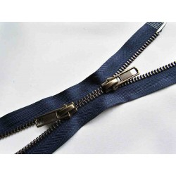 double slider metal zip - navy - antique brass - 60cm - straight puller