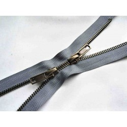 double slider metal zip - grey - antique brass - 60cm - straight puller