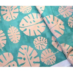 Monstera leaves , green&pink - Heavy weight fabric