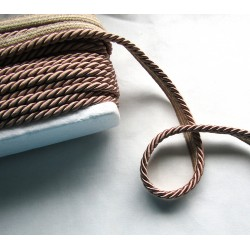 Thick flanged rope  piping cord 8mm - light brown