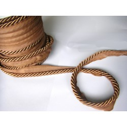 Thick flanged rope  piping cord 8mm - bronze