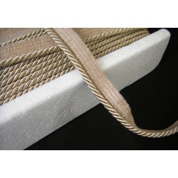 Thick flanged rope  piping cord 8mm - beige - sand
