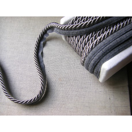Thick flanged rope  piping cord 8mm - dark grey